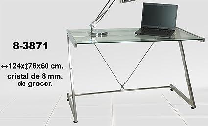 DonRegaloWeb-Tavolo in metallo e vetro, spessore: 5 mm, colore: trasparente