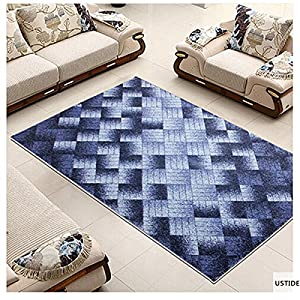 Ustide blue area rug unique geometric carpet living room for Living room rugs 6x9