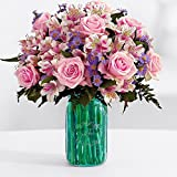Pink Sapphire Birthday Bouquet (Roses, Lilies, Asters) - Flowers
