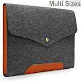 Lavievert Gray Felt Case Leather Bottom Bag Magnetic Button Sleeve for Apple 13″ Macbook Pro / 13″ Macbook Pro with Retina / 13″ Macbook Air and Most Popular 13-13.3 Inch Laptop / Notebook Computer / Ultrabooks