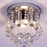 Mini Style 1-light Flush Mount Crystal Chandelier