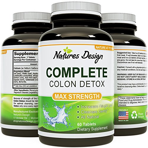 Colon Detox & Weight loss Benefits with Digestive Enzymes – Pure, Plant & Herbs Sourced Formula – Toxins & Waste Cleanse – Optimizes Nutrient Uptake and Stomach Relief – Pills Work Fast with Low Carb Diets – USA Made By Natures Design