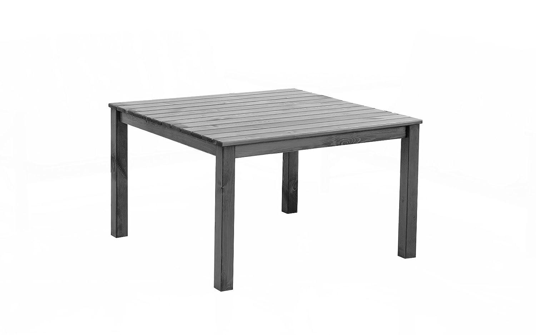 GARDENho.me Massivholz Tisch OSLO Gartentisch Esstisch Tisch Taupegrau, ca. 116 x 116 x 70 cm