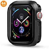 Case Compatible Apple Watch Series 4, Shock Proof Protective Silicone Bumper Resistant TPU Protector Case Cover Replacement for Apple Watch Series 4 (Black, 44mm) (Color: Black, Tamaño: 44mm)
