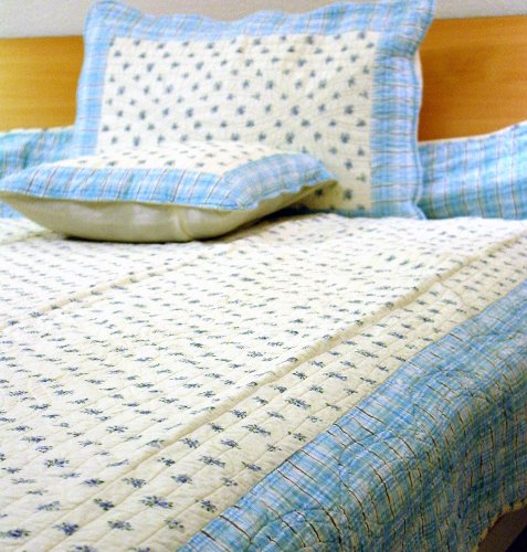 Lt Blue Denim with Flower Handmade Quilt Twin Set of Three