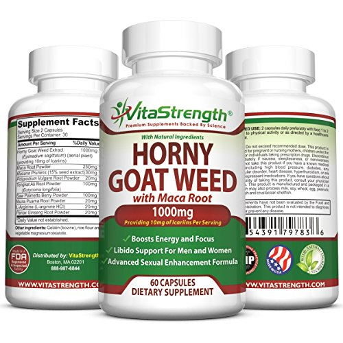 Premium Horny Goat Weed With Female and Male Enhancement Herbs - Complete Formula Of Horny Goat Weed Extract, Maca Root, Ginseng, Saw Palmetto & Tongkat Ali - Horney Goat Weed For Libido Support