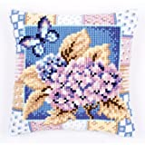 Vervaco Hydrangea Cross Stitch Cushion, Multi-Colour