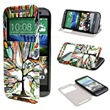 TUTUWEN View Window Painting Art Tree Style Design PU Leather Flip Stand Case Cover for HTC One M8 HTC One M8 CDMA