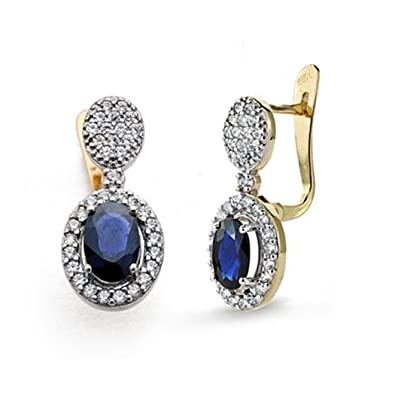 zircons sapphire earrings 18k gold 18mm. [AA0306]