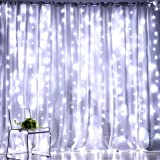 Fiee Twinkle Curtain Lights,304 LED 9.8ftX9.8ft 30V 8Modes safety Window Lights with Memory for Home Wedding Christmas Party Family Patio Lawn Garden