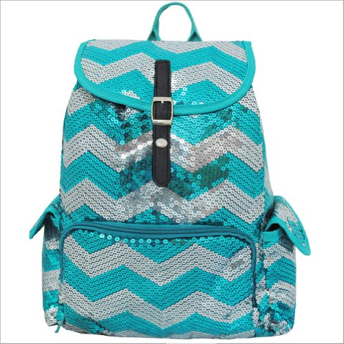 Sequin Chevron Pattern Drawstring Backpack Bookbag (Aqua)