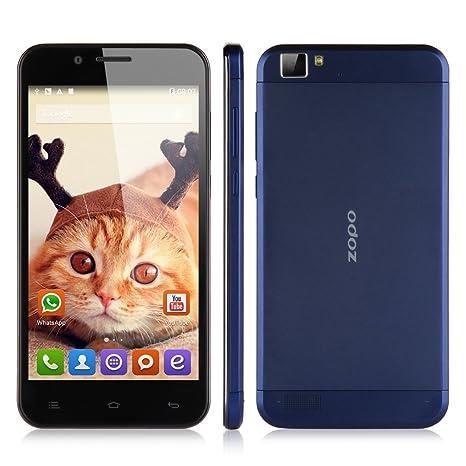 ZOPO ZP1000 Smartphone équipé de Grande 5,0 Pouce HD IPS Ecran 1Go RAM+16Go ROM Octa Core MTK6592 1,7GHz Google Android 4.4 KitKat WIFI GPS Bluetooth OTG OTA -résolution 1280x720 mégapixel-Bleu foncé -déloqu&eacut