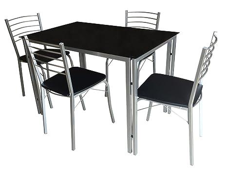 Essgruppe, Tischgruppe, Tischset, Esstisch, Kuchentisch, Tisch, Esszimmerstuhl, Stuhl, Set, 5-teilig, schwarz, Glas