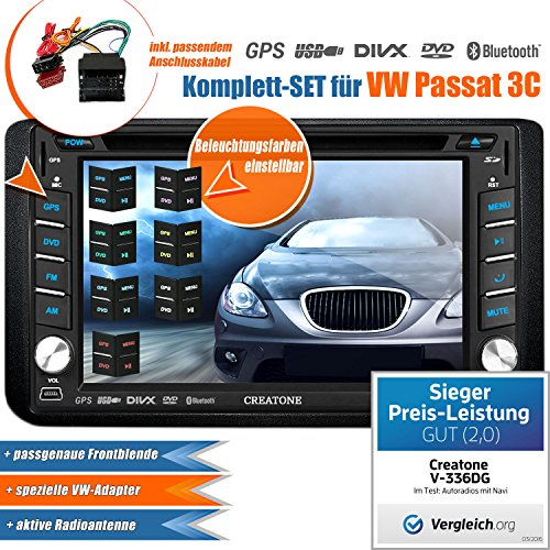 2DIN-Autoradio-CREATONE-V-336DG-fr-VW-Passat-3C-2005-2014-mit-GPS-Navigation-Europa-Bluetooth-Touchscreen-DVD-Player-und-USBSD-Funktion