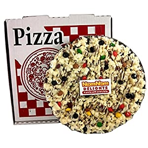 NomNom Delights Chocolate Lovers Popcorn Pizza in a Box - Unique Gourmet Gift! Kosher Certified (Chocolate Candy Coated)