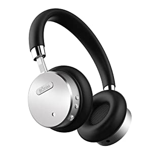BÖHM Wireless Bluetooth Headphones with Active Noise Cancelling Headphones Technology – Features Enhanced Bass, Inline Microphone & 18-Hour (Max) Battery – Black/Silver