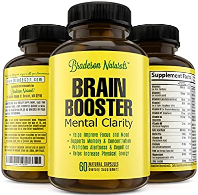 Brain Booster Nootropic By Bradeson Naturals. Supports Mental Clarity. Improves Memory & Focus. Increases Level of Concentration, Cognition & Alertness. Non-GMO, Gluten Free, Made in the USA