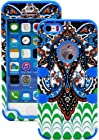 myLife Deep Blue - Retro Paisley Series (Neo Hypergrip Flex Gel) 3 Piece Case for iPhone 5/5S (5G) 5th Generation iTouch Smartphone by Apple (External 2 Piece Fitted On Hard Rubberized Plates + Internal Soft Silicone Easy Grip Bumper Gel)