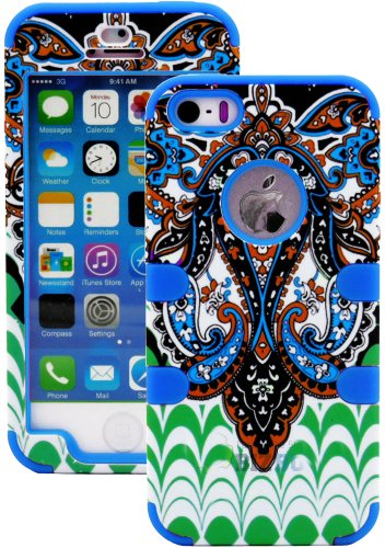 Mylife (Tm) Deep Blue - Retro Paisley Series (Neo Hypergrip Flex Gel) 3 Piece Case For Iphone 5/5S (5G) 5Th Generation Itouch Smartphone By Apple (External 2 Piece Fitted On Hard Rubberized Plates + Internal Soft Silicone Easy Grip Bumper Gel + Lifetime W
