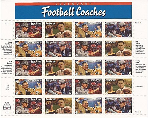 Legendary Football Coaches Sheet of Twenty 32 Cent Stamps Scott 3143 by USPS