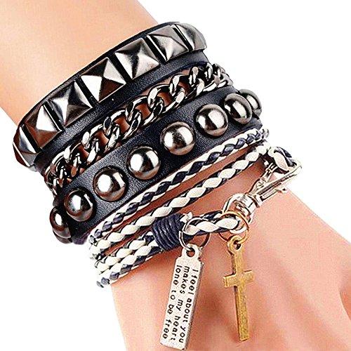 Cool moda Punk pelle Street Rock bracciale multistrato 8colori, base metal, colore: Black/White, cod. SRUK0309