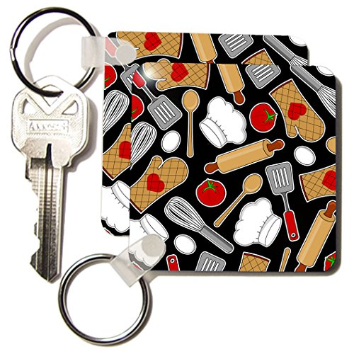 3dRose Cute Chef or Cook Love Pattern in Black Key Chains, Set of 2 (kc_172123_1)