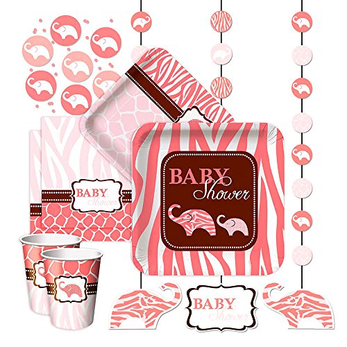 Girl Baby Shower Wild Safari Pink Party Pack for 8 guests