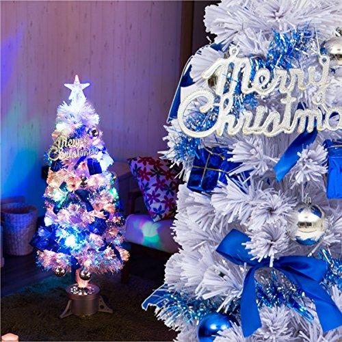 幻想的にキラメク 聖夜を彩るクリスマスツリーセット 「120cmサイズ 光ファイバーツリー」【ホワイト(白色)】 LEDライト付き 飾りいろいろ6種のオーナメント