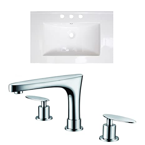 "Jade Bath JB-15737 24"" W x 18"" D Ceramic Top Set with 8"" o.c. CUPC Faucet, White"