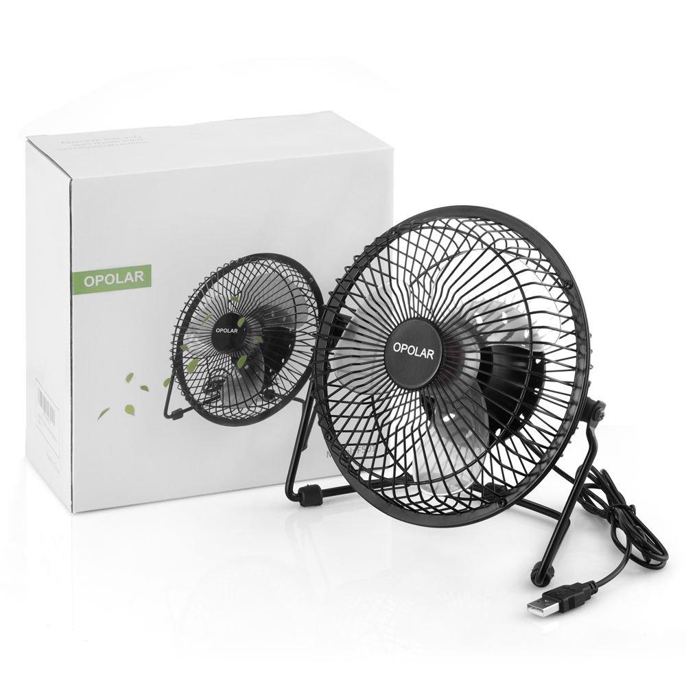 OPOLAR F501 Desktop USB Fan with Upgraded 6 Inch Blades, Enhanced Airflow, Lower Noise, Metal Design, USB Powered, Personal Table Fan, Mini Cooling Fan, Small Desk Fan, Quiet Office Fan - Black