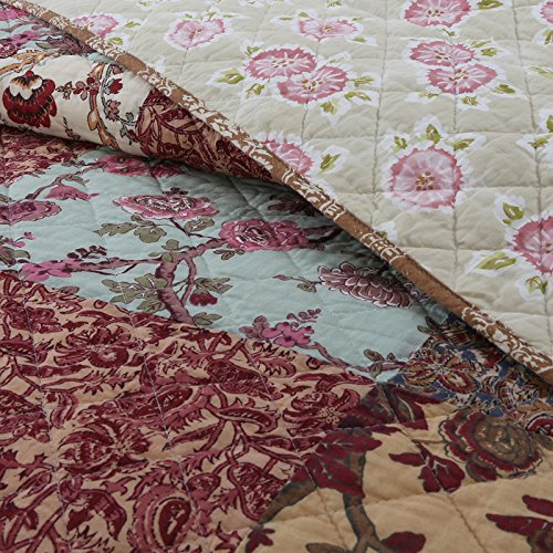 Luxury Retro Floral Stitching Cotton Patchwork Bedspread Sets Quilt Queen Size 1