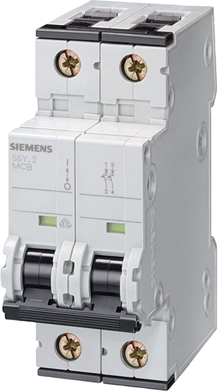Siemens 5SY42167 Supplementary Protector, UL 1077 Rated, 2 Pole Breaker, 16 Ampere Maximum, Tripping Characteristic C, DIN Rail Mounted