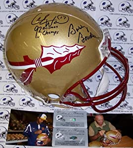 Bobby Bowden & Charlie Ward Hand Signed Florida State Seminoles Authentic Helmet... by Sports+Memorabilia