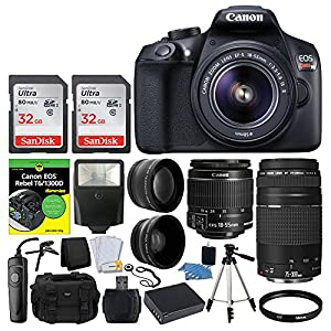 Canon EOS Rebel DSLR T6 Camera Body - Canon 18-55mm EF-S IS II Autofocus Lens - Canon Zoom EF 75-300mm III Autofocus Lens - SanDisk 64GB Card + T6/1300D for Dummies + Vivitar Gadget Bag + Accessories