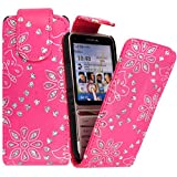 For Nokia C3-01 Sparkle Shiny Butterfly Pink Diamond PU Leather Magnetic Flip Closure Case Cover Pouch By CONTINENTAL27