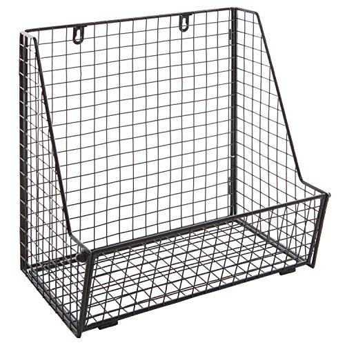 modern black metal wire wall mounted hanging towel basket