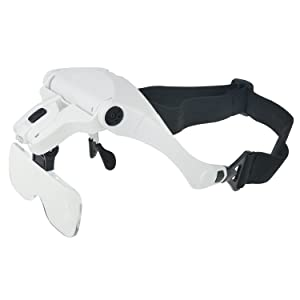 Glam Hobby h6902B Head Mount Magnifier with LED Head Light Bracket and Headband, 5 Replaceable and Interchangeable Lenses: 1.0X, 1.5X, 2.0X, 2.5X, 3.5X (Color: White, Black)