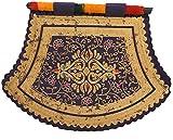 Vidhshee Creation Satin Decorative Fan (12.7 cm x 12.7 cm, Purple & Gold)