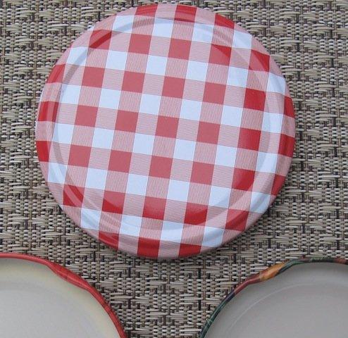 Caps-Deckel Marmeladenglas Deckel 82mm Karo rot