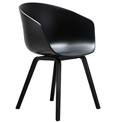 Hay About A Chair AAC 22, Wood-Four Legged (Stained Black / Black / Felt