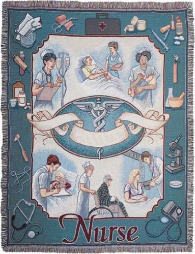 "Nurse Profession Pictorial Afghan Throw Tapestry Blanket - 50"" X 70"" Usa Made front-971968"