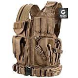 New Loaded Gear Tactical Vest Light Outdoor Training Vest Adjustable for Adults (Tan) (Color: Tan)