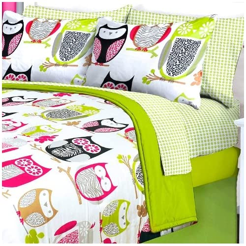 Info 6pc Girl Green Pink Owl Zebra Bird Twin Comforter Set (Bed in