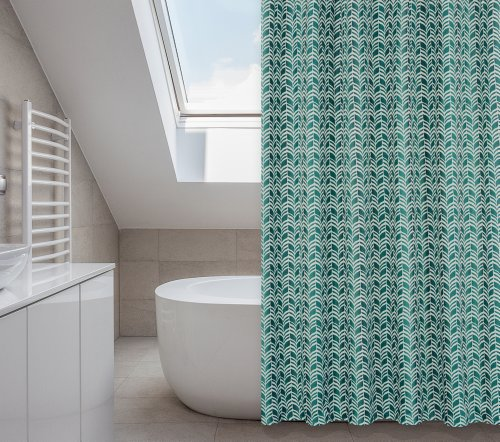 Metro 14-piece shower curtain set (tropical turquoises and darkest of greens)