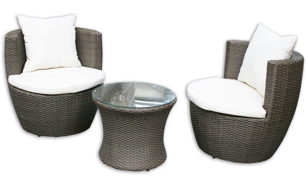 KMH®, 3-teilige Gartensitzgruppe (inklusive Sesselauflage und Kissen) (#106095)