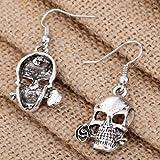 YAZILIND Punk Tibetan Silver Cool Hollow Skull Rose Design Ear Wire Hook Dangle Earrings