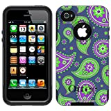 Otterbox Commuter Paisley Green Purple on Cyan Blue Case for Apple iPhone 4