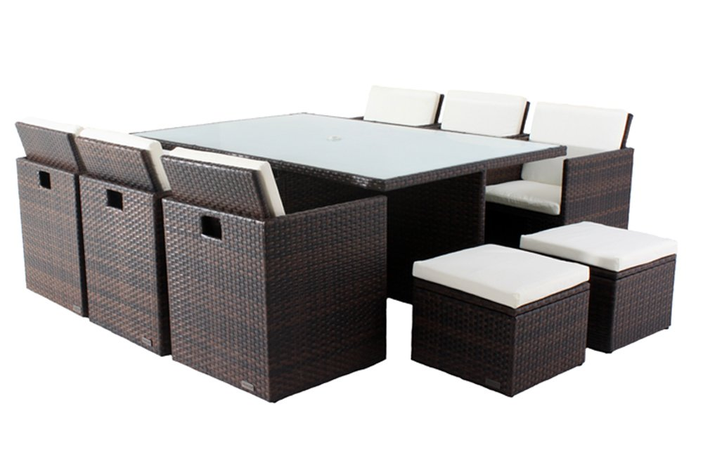 Outflexx Sitzgruppe Polyrattan mit Hockerboxen w37 , braun günstig