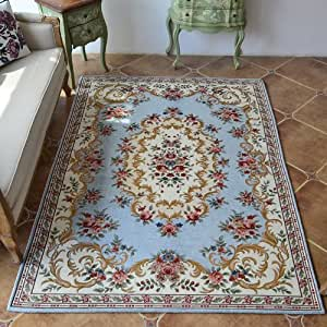 Ustide living room carpet grayish blue for Living room rugs amazon