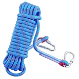 Professional Outdoor Rock Climbing Safety Rope, Diameter 12mm, 3.3KN Pull High Strength Accessory Cord Climbing Equipment Rope for Fire Rescue, Hiking, Mountaineering(Blue, 30m(94feet))